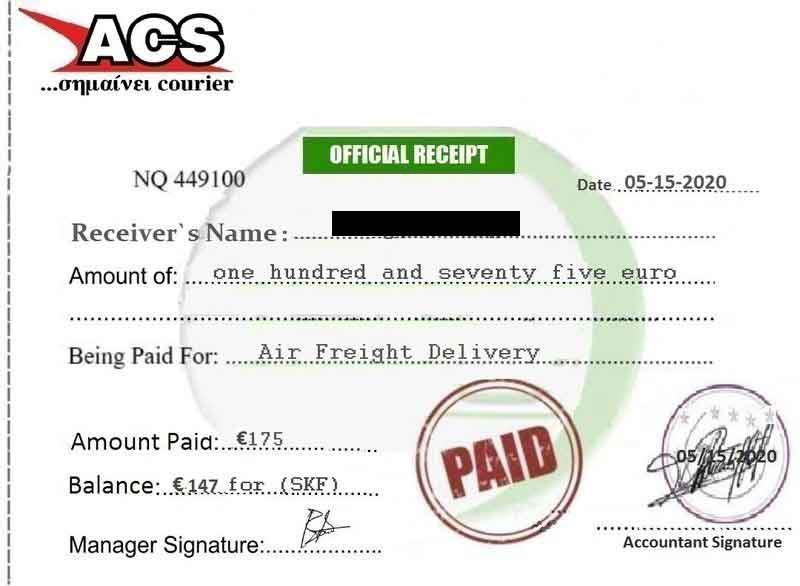 acs official receipt